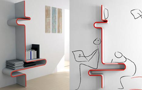[Bureau] Etagère Shelving Or Desk by Yanko Design Wall_wave