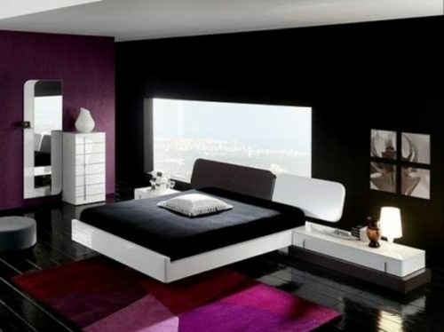[Habitation] Purple Spirit Minimaliste-moderne-chambre-coucher-couleur-noire-violette
