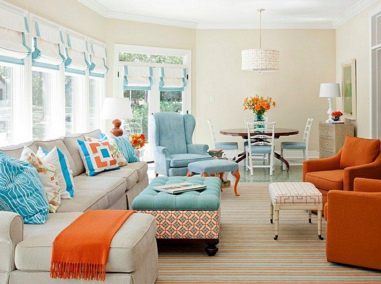 Autour d'un canapé orange : Vous avez le champ libre ! Salon-idee-couleur-bleu-orange-canape