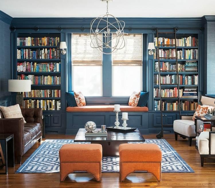 Besoin d'aide aménagement déco salon/salle de bain/chambre  Salon-decoration-moderne-orange-bleu