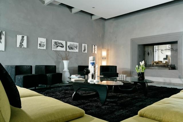 [Habitation] Snake's apartment - Page 3 Decoration-noire-salon-accent-vert-vif