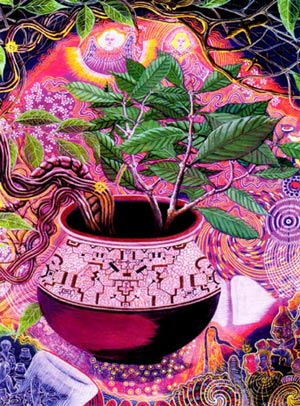 Le voyage astral , désincarnation temporaire Painting-ayahuasca