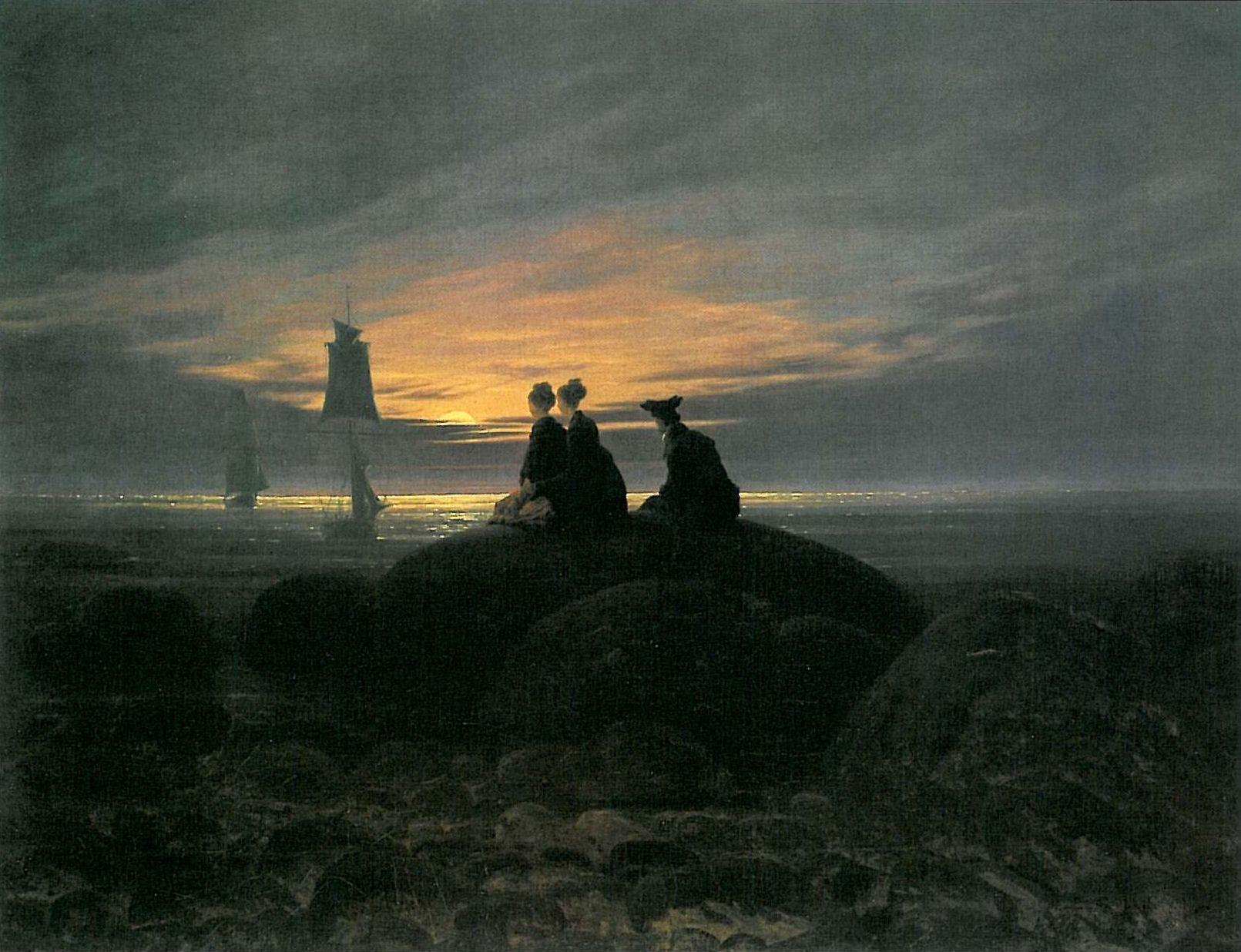 Motivos modernos (Pintura, Fotografía cosas así) - Página 4 Caspar-david-friedrich-la-luna-saliendo-a-la-orilla-del-mar
