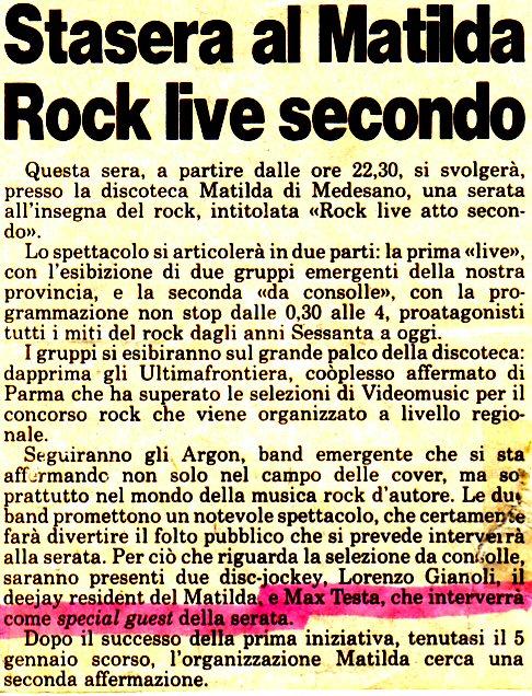 Inaugurazione Rock Matilda 1995 Rassegna4