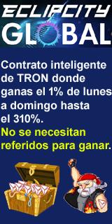 Contrato inteligente de TRON donde ganas el 1% de lunes a domingo hasta el 310%. No se necesitan referidos para ganar.