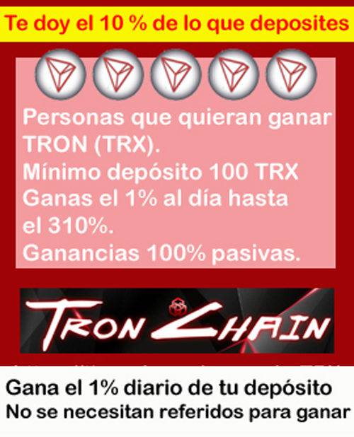 TRON CHAIN, Contrato inteligente de TRON donde ganas el 1% de tu depósito por 310 dias, Ganancias 100% pasivas. Manita-arriba_TRON-CHAIN-motero-REGALO-FORO