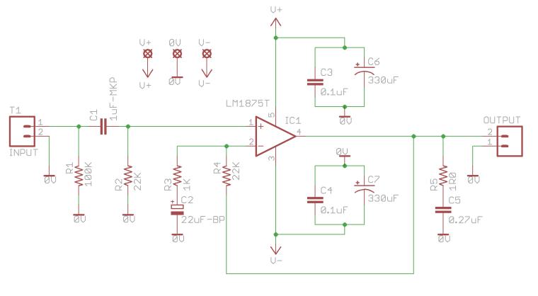 Kit amplificador HUM Gobo-LM1875-Amplifier-Schematic