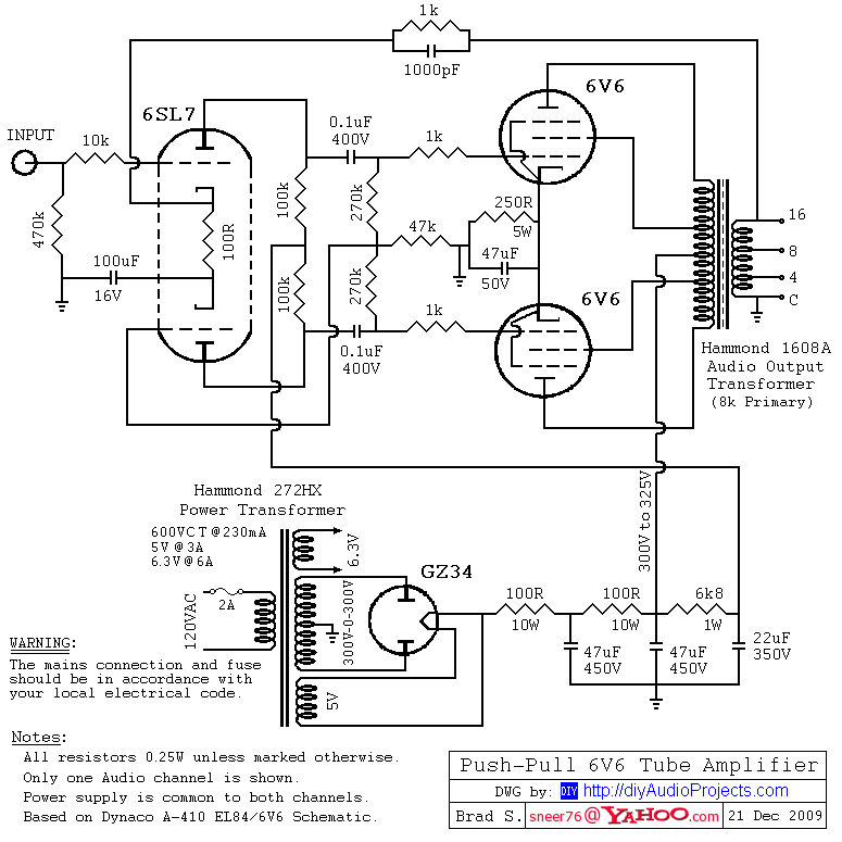 Serpico's Audio PP 25W - Trabajado a mano - 6SL7-6V6-Push-Pull-Tube-Amp-Schematic