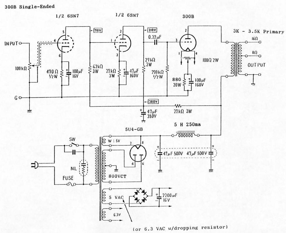Cableado filamento rectificadoras 6SN7-300B-Single-Ended-Tube-Amp-Schematic