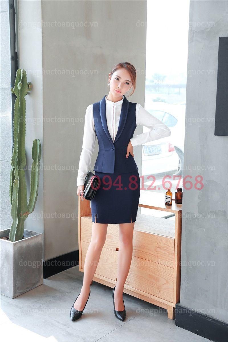 Mẫu đồng phục áo gile nữ văn phòng phong cách Hàn Quốc hiện đại 17e
