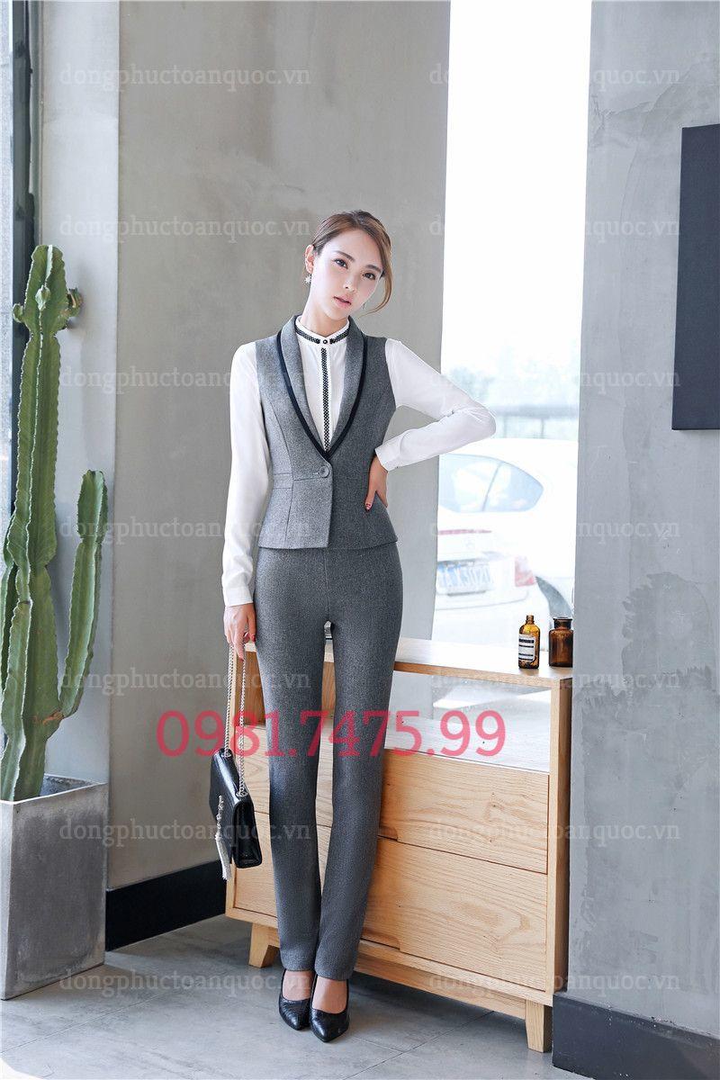 Mẫu đồng phục áo gile nữ văn phòng phong cách Hàn Quốc hiện đại 17r