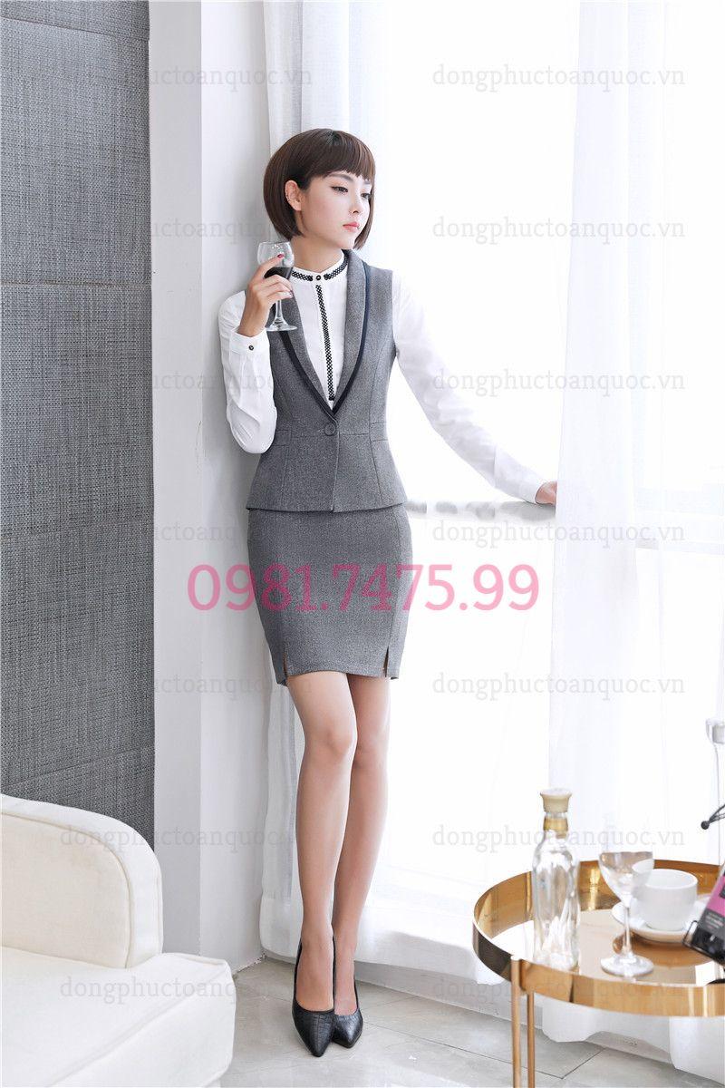 Mẫu đồng phục áo gile nữ văn phòng phong cách Hàn Quốc hiện đại 17w