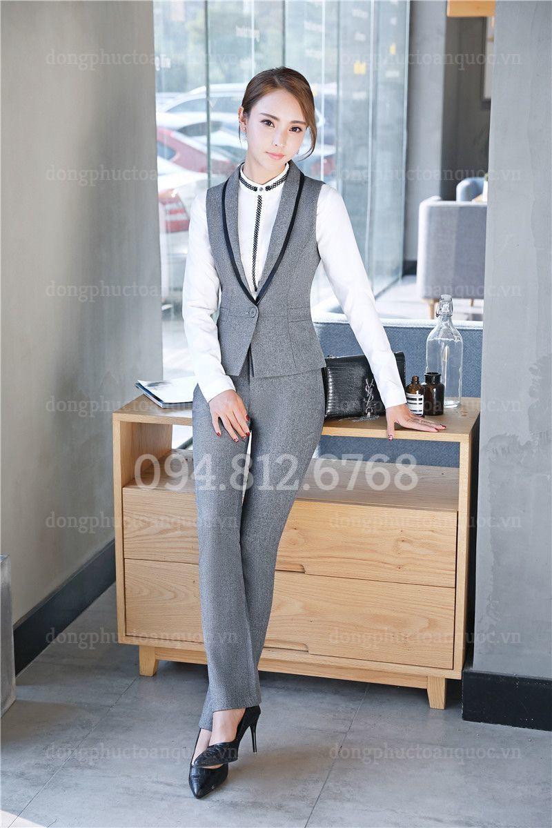 Mẫu đồng phục áo gile nữ văn phòng phong cách Hàn Quốc hiện đại 17y