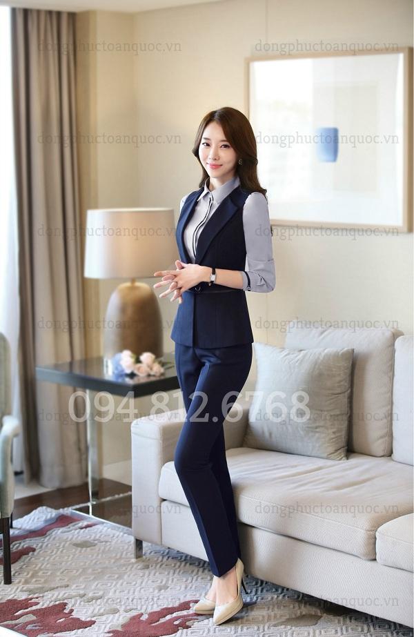 Mẫu áo gile nữ công sở cao cấp, form chuẩn chỉ có tại ĐỒNG PHỤC VIỆT  30d