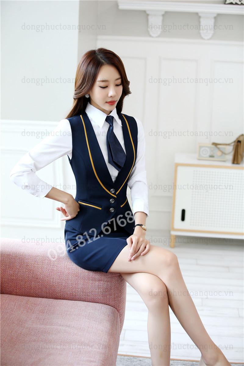 Mẫu đồng phục áo gile nữ thời trang, chất lượng và sự hài lòng 100% của khách hà 77d