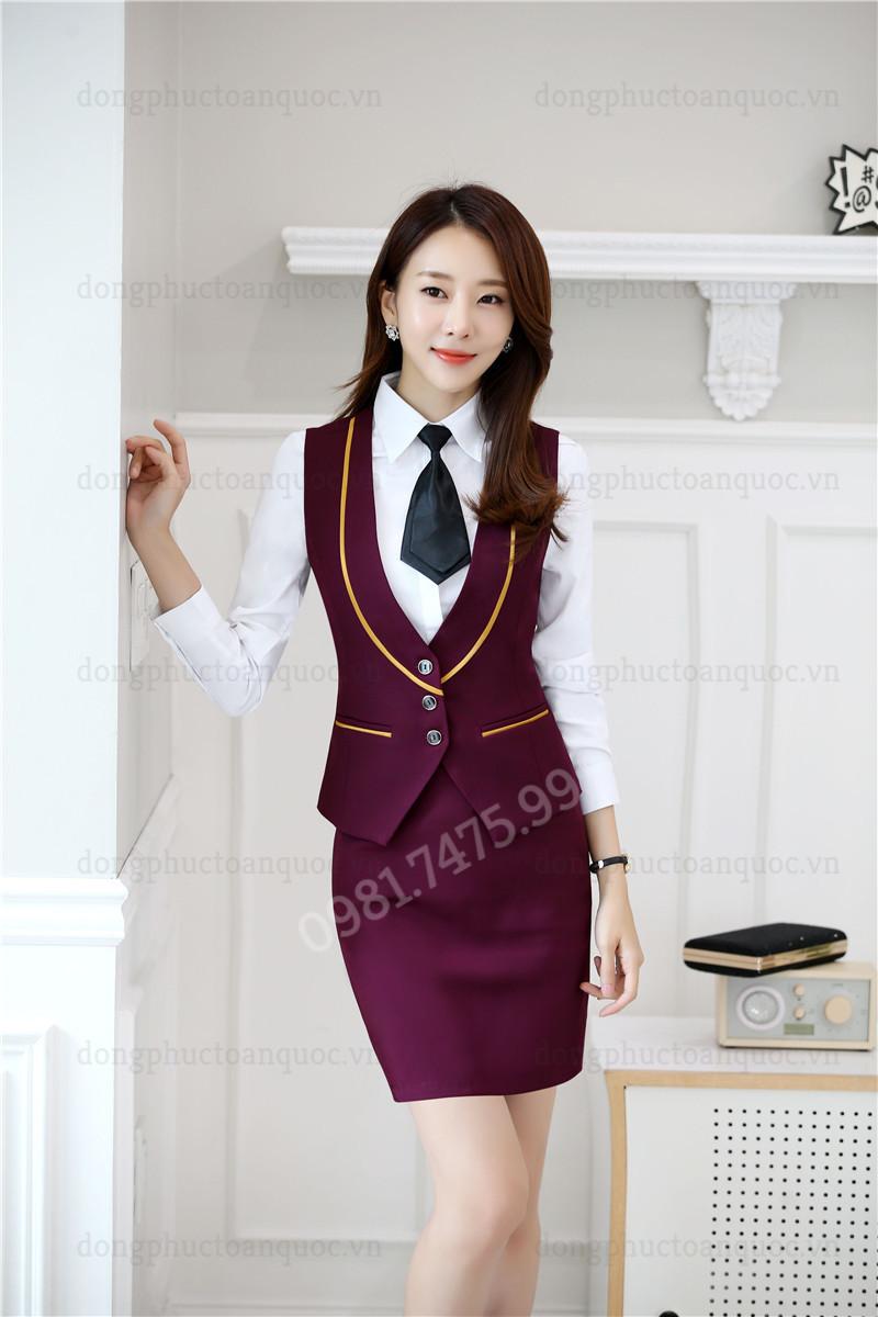 Mẫu đồng phục áo gile nữ thời trang, chất lượng và sự hài lòng 100% của khách hà 77f