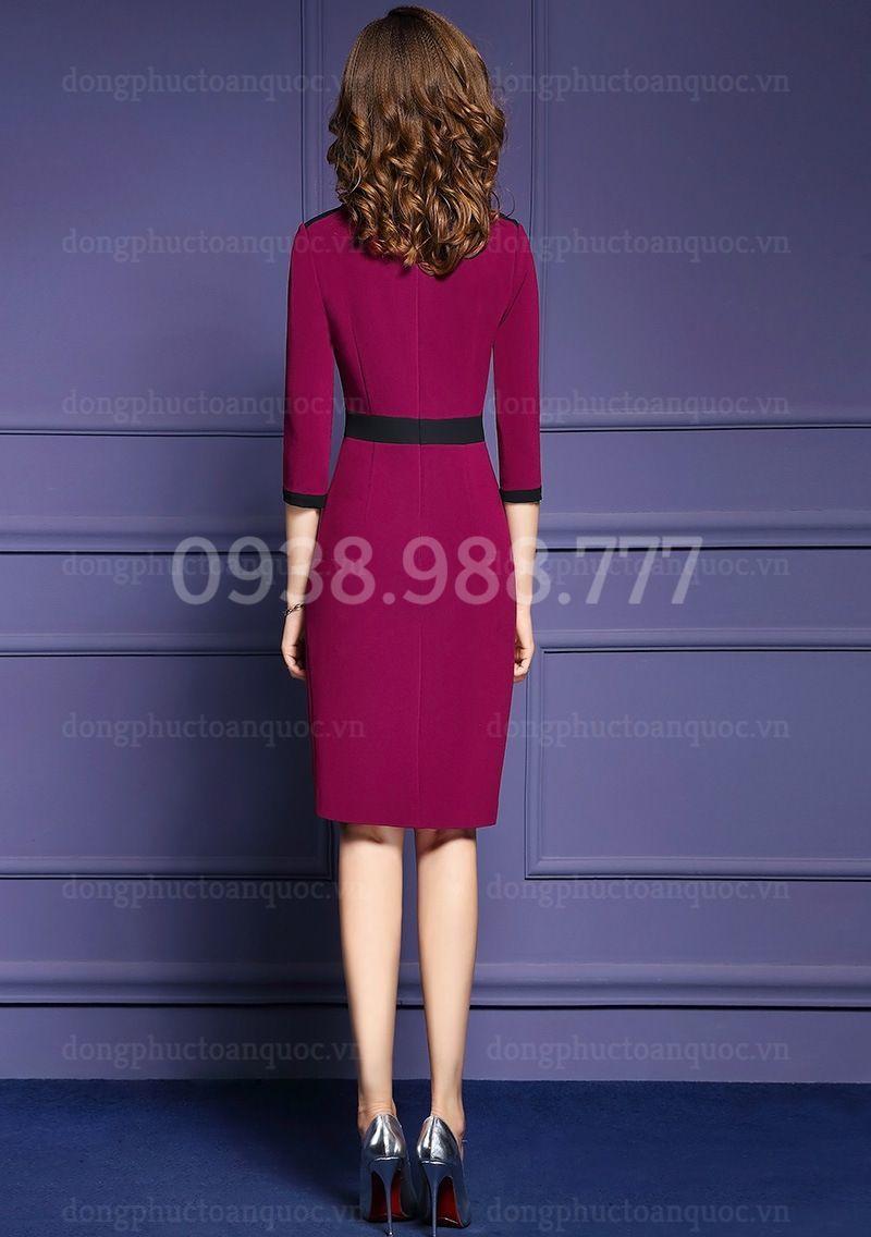 Mẫu váy liền văn phòng Thu Đông đẹp nhất của VIỆT ĐỒNG PHỤC 10c