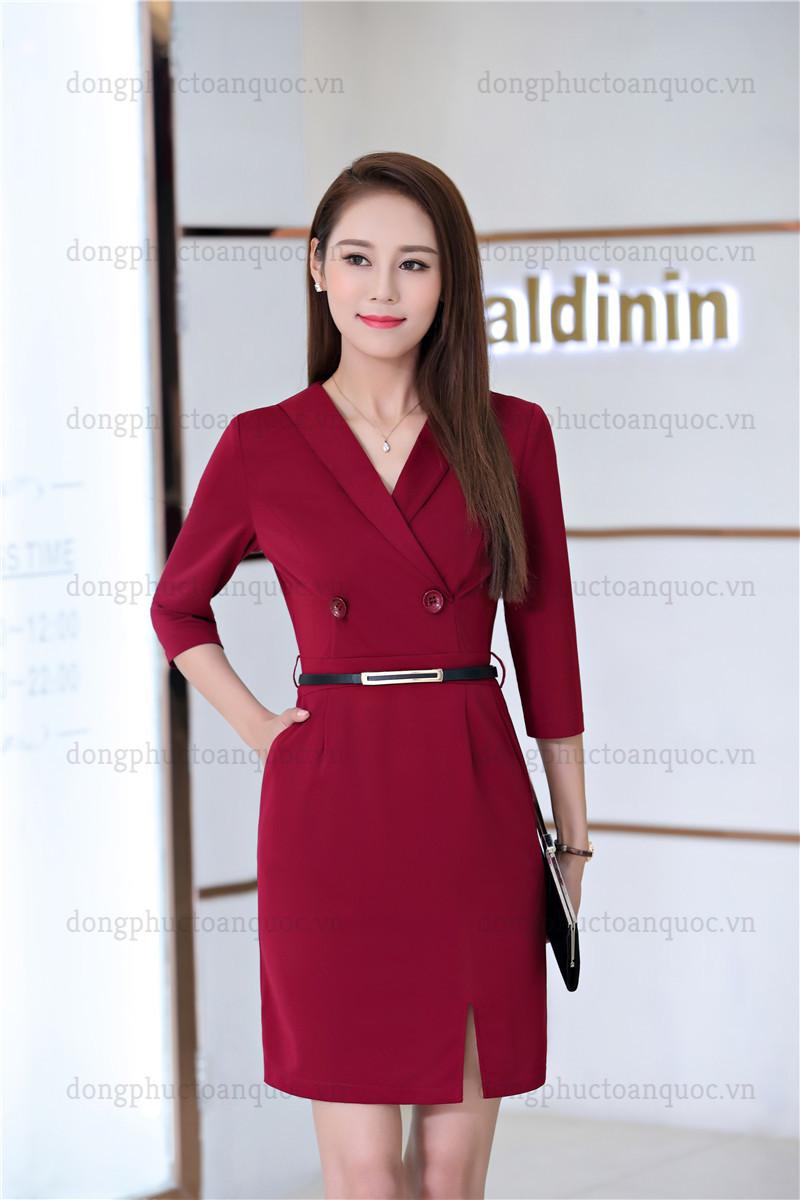Mẫu đồng phục váy liền công sở thanh lịch, quyến rũ mọi ánh nhìn  24%20(7)