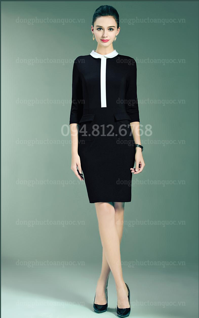 Mẫu đồng phục váy liền công sở Thu Đông đẹp nhất của VIỆT ĐỒNG PHỤC 4%20(6)