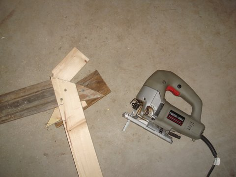Now just trim to the line - I used a reciprocating/sabre saw, but you could also use a hand saw or circular saw if its all you have.  Just make a straight cut in about the right place.