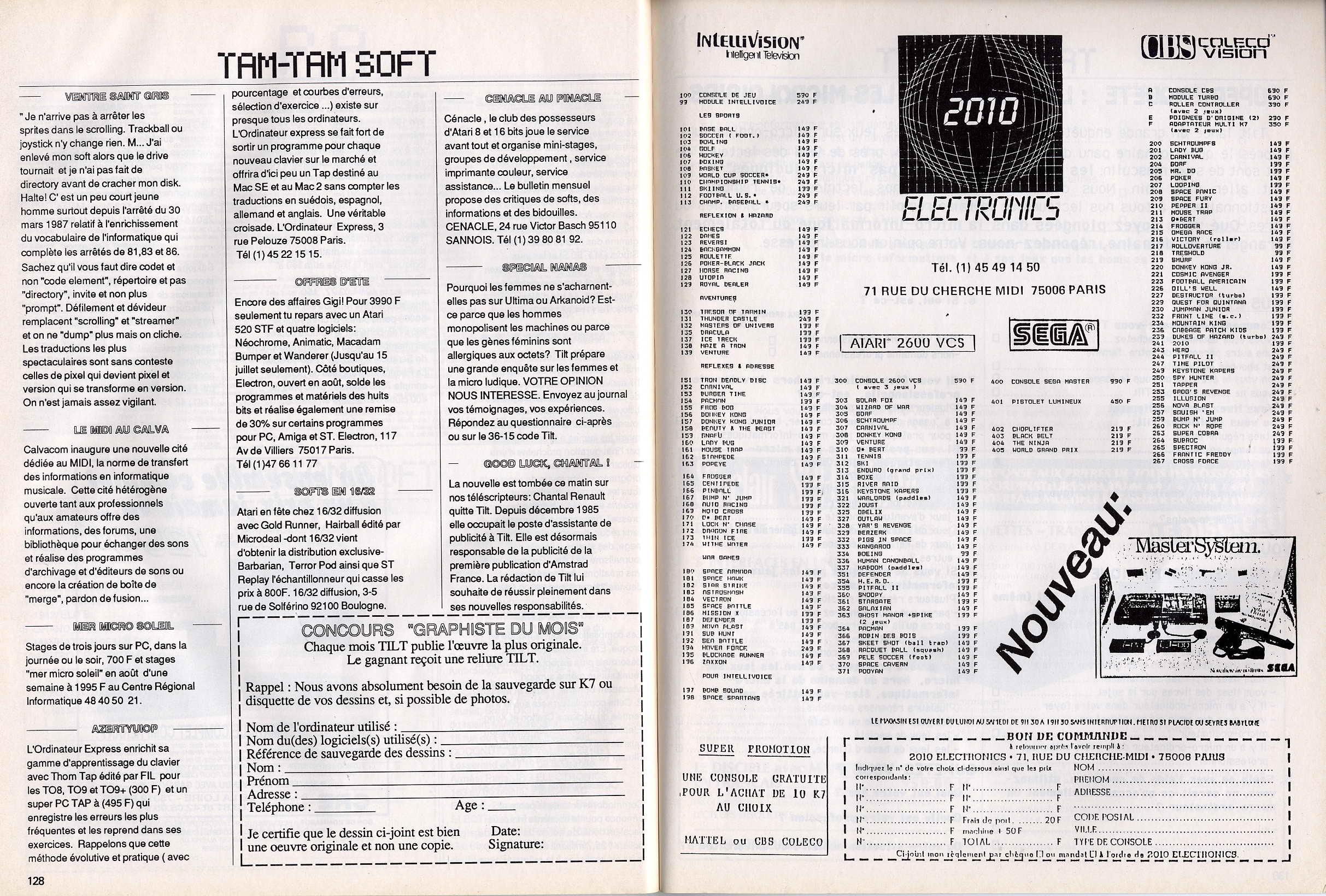 Tentative liste Line Up France Sega Master System printemps 87. TILT%20-%20n%B044%20-%20juillet%20aout%201987%20-%20page128%20et%20page129