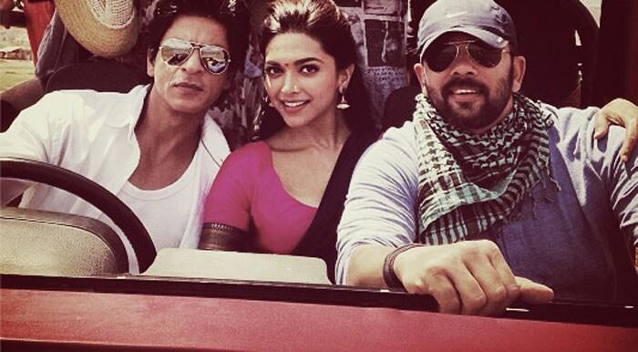 SRK, Deepika and Rohit Shetty at posters of Chennai Express Deepika-srk-rohit18