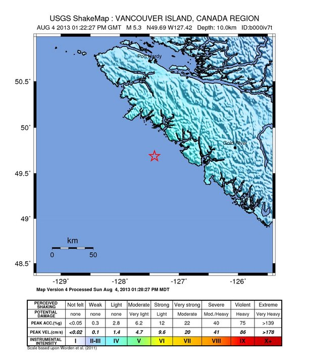 Canada – 5.3 Magnitude Earthquake – 112km S of Port Hardy Intensity