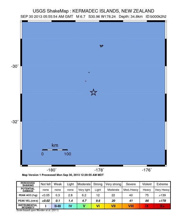 New Zealand – 6.7 Magnitude Earthquake – 81km NE of L'Esperance Rock Intensity