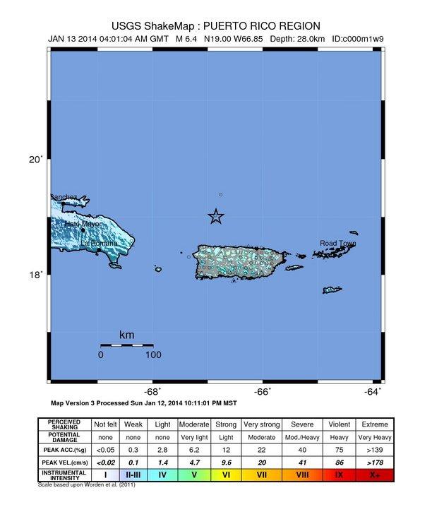 Puerto Rico – 6.5 Magnitude Earthquake 57km N of Hatillo Intensity