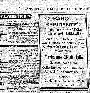 Las armas venezolanas para la Sierra Maestra se utilizaron en la Batalla de Maffo. Cubano-residentec2a1c2a1-el-nacional-21-de-julio-de-1958-2