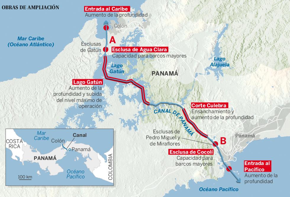 Canales y otras conexiones interoceánicas en Centroamérica: Panamá, Nicaragua, Guatemala, Honduras... China. Panama_mapa_980