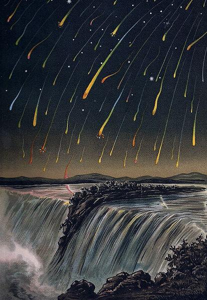 Leonid meteors in moonlight tonight Leonid_meteor_woodcut_1833