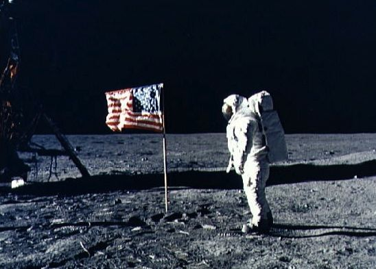 moon hoax not  Apollo_11_flag_astronaut_moon_cropped