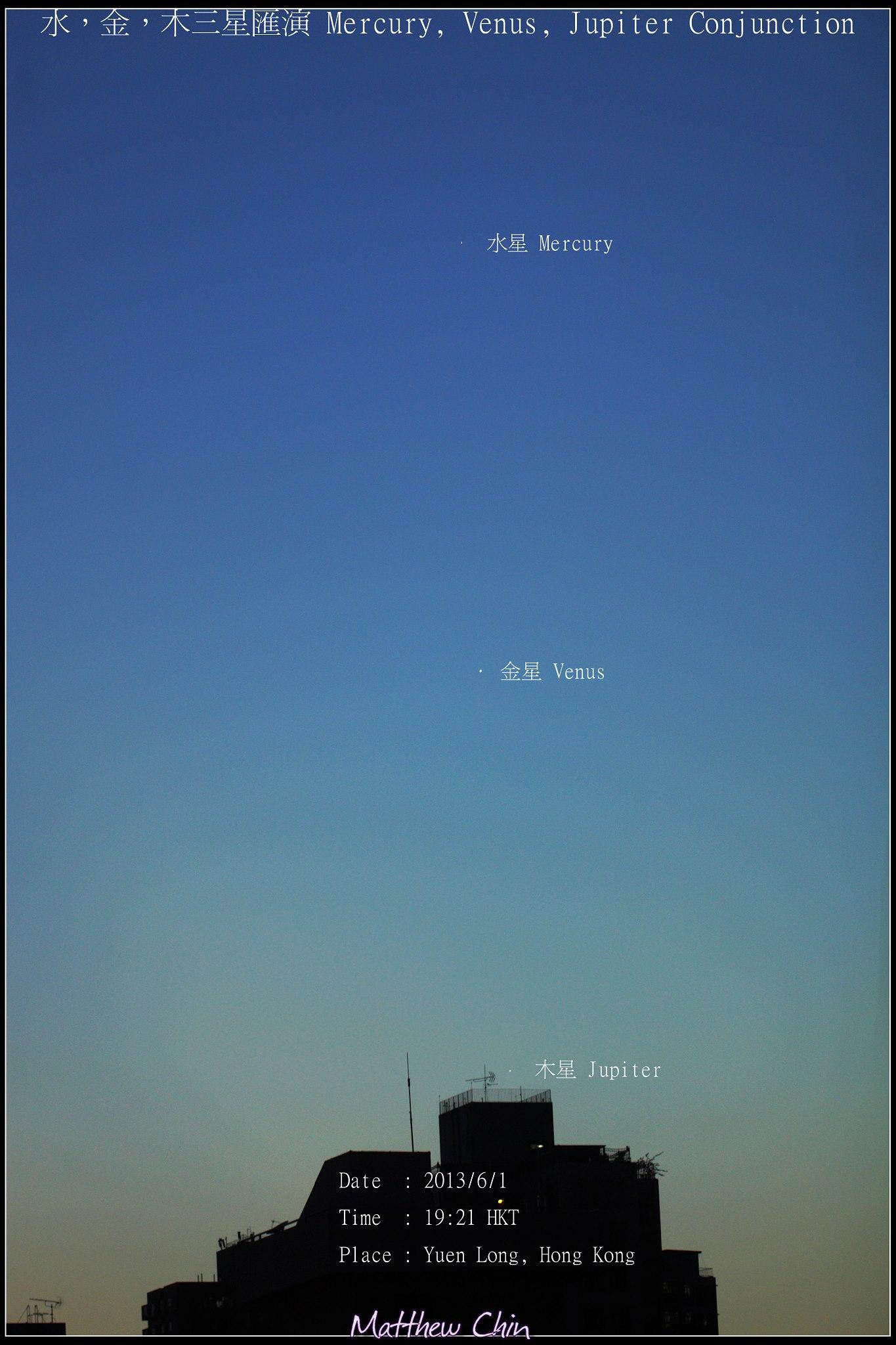 September 2013 guide to the five visible planets Mercury-venus-jupiter-Matthew-Chin-6-1-2013-Hong-Kong