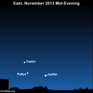 Full moon, Leonid meteors, Comet ISON on November 16-17 2013-november-16-text3-pollux-jupiter-castor-night-sky-chart-300x300