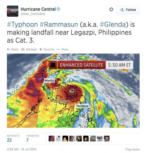 Typhoon Rammasun is thrashing the Philippines Typhoon-Rammasun-7-15-2014-tweet-e1405427867677