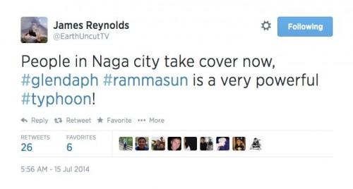 Typhoon Rammasun is thrashing the Philippines Typhoon-coverage-7-15-2014-James-Reynolds-tweet-e1405427887884