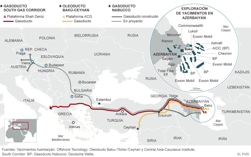 Azerbaiyán inaugura gasoducto y se ofrece para distribuir energía de los vecinos hacia la UE. 1411651558_218100_1411765518_noticia_normal