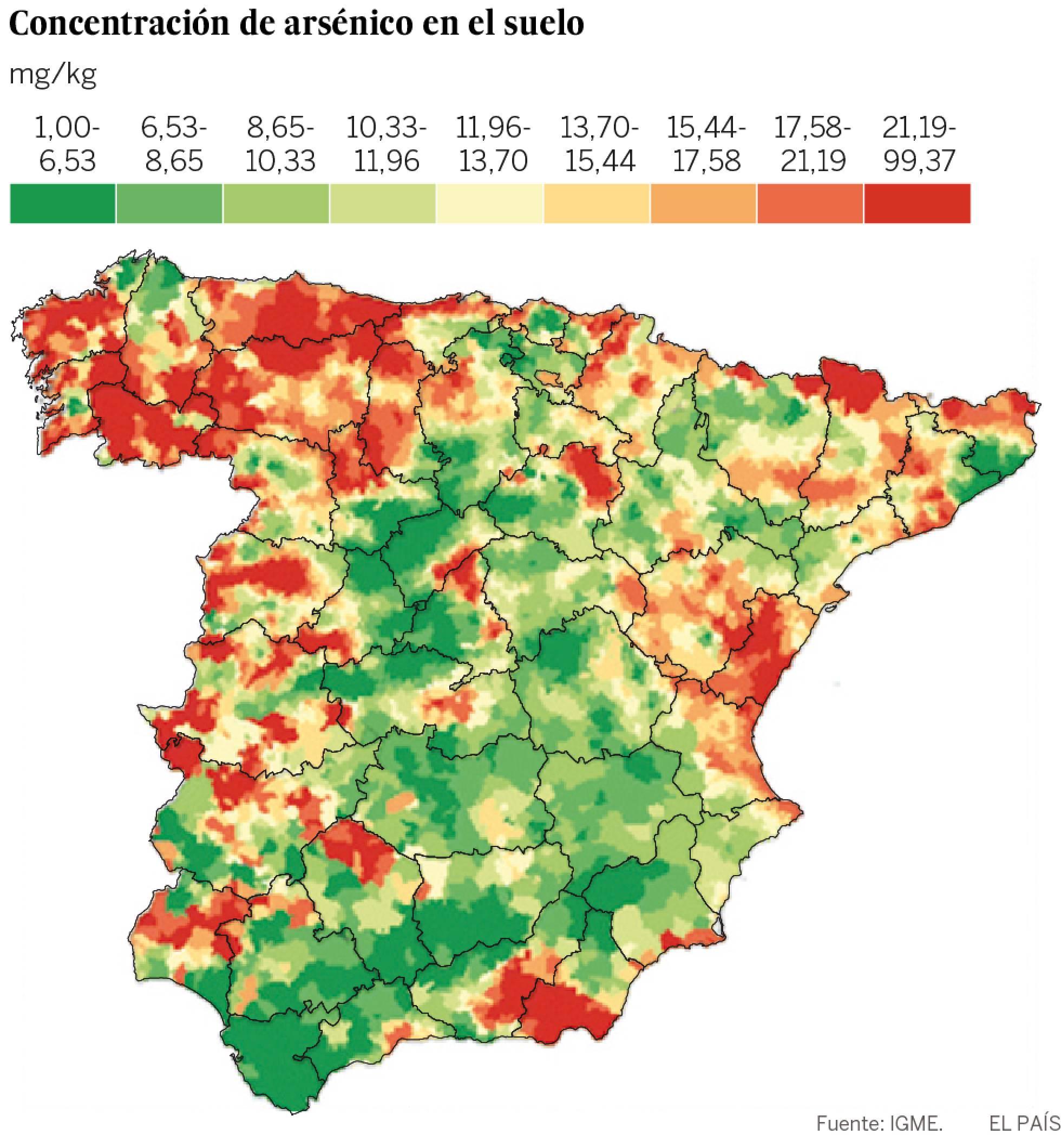 El mapa del arsénico se asocia a un mayor riesgo de cáncer en España 1467135035_604531_1467213564_noticia_normal_recorte1
