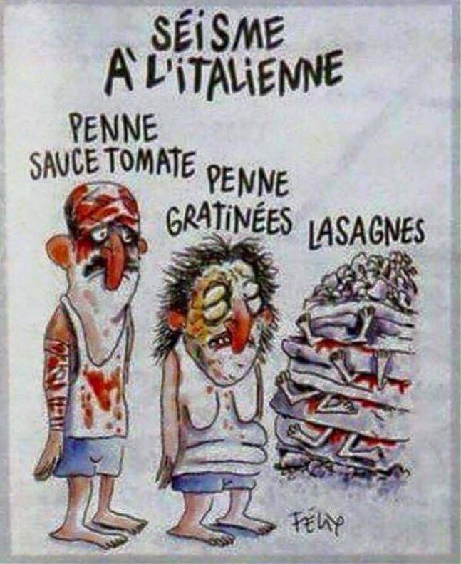 Charlie Hebdo... a favor del capitalismo, su democracia... y su negocio particular. Vineta-charlie-hebdo-sobre-terremoto-italia-1472833596179