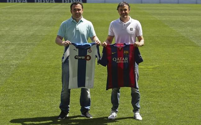 ¿Cuánto mide Luis Enrique Martínez? - Altura Sergio-luis-enrique-con-las-camisetas-1429877104173