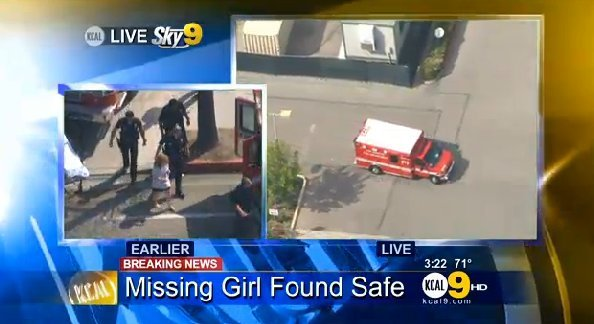 FBI Assists LAPD in Search for 10-Year-Old Nicole Ryan of Northridge who disappeared from her bedroom overnight/Nicole has been found!/3.31.03 An arrest has been made! 2nd suspect still on the run 20130327_042610_nicole_found_screen_grab_01