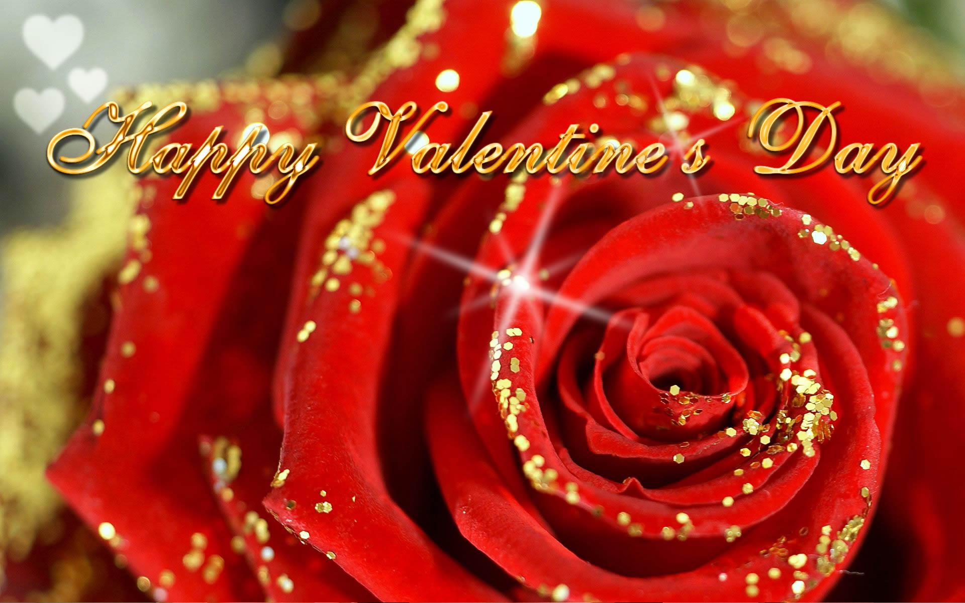 Saint Valentine's Day Happy-valentines-day-ecard-wallpaper-rose-golden-glitter-13