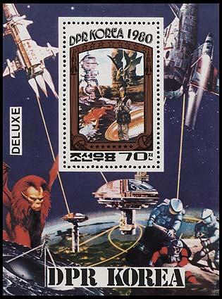 Astrophilatélie soviétique et pays de l'Est - Page 3 Korea_1980_fiction_blperf_min