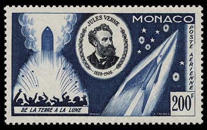Astrophilatélie soviétique et pays de l'Est Monaco_1955_verne_200blue