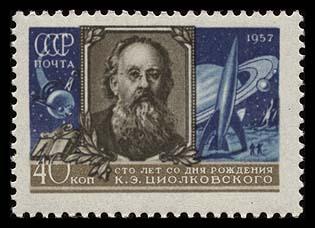 Astrophilatélie soviétique et pays de l'Est - Page 3 Ussr_1957_tciolkovsky_blue