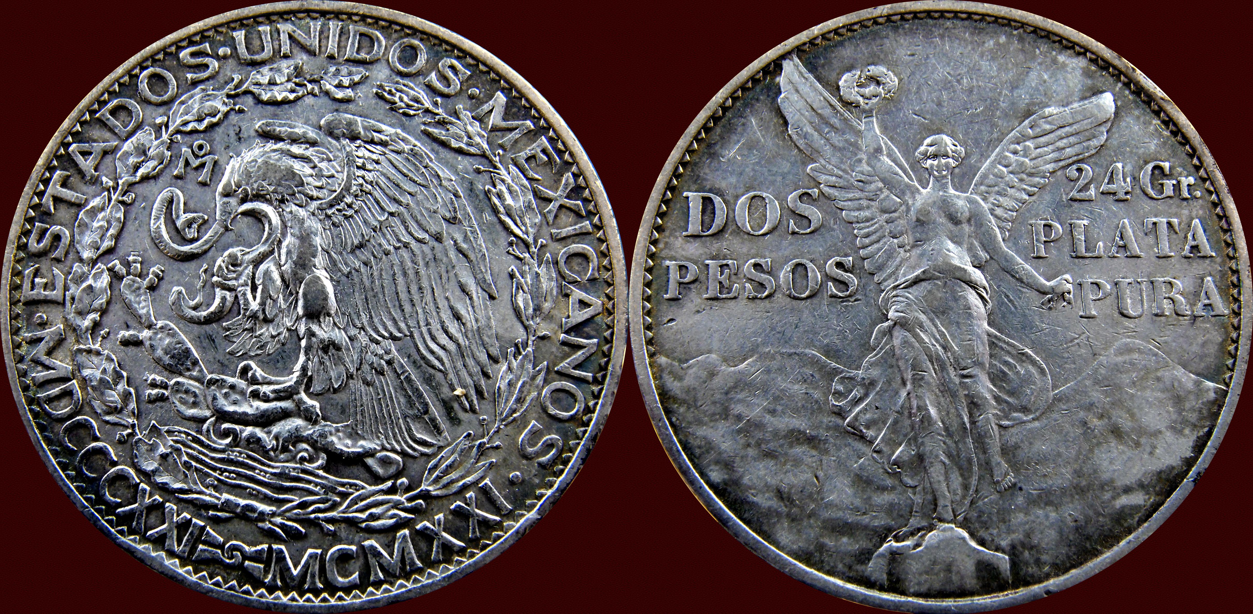 2 Pesos, Mexico 1921. Conmemorativa del Centenario de la Independencia de Mexico. 13188665084_318788c52d_o