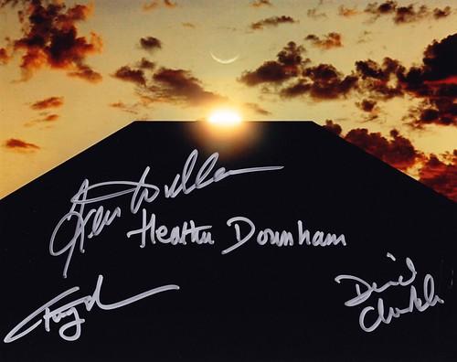 2001 ODYSSEE DE L'ESPACE (Photo Monolithe 1 signée 4 acteurs)