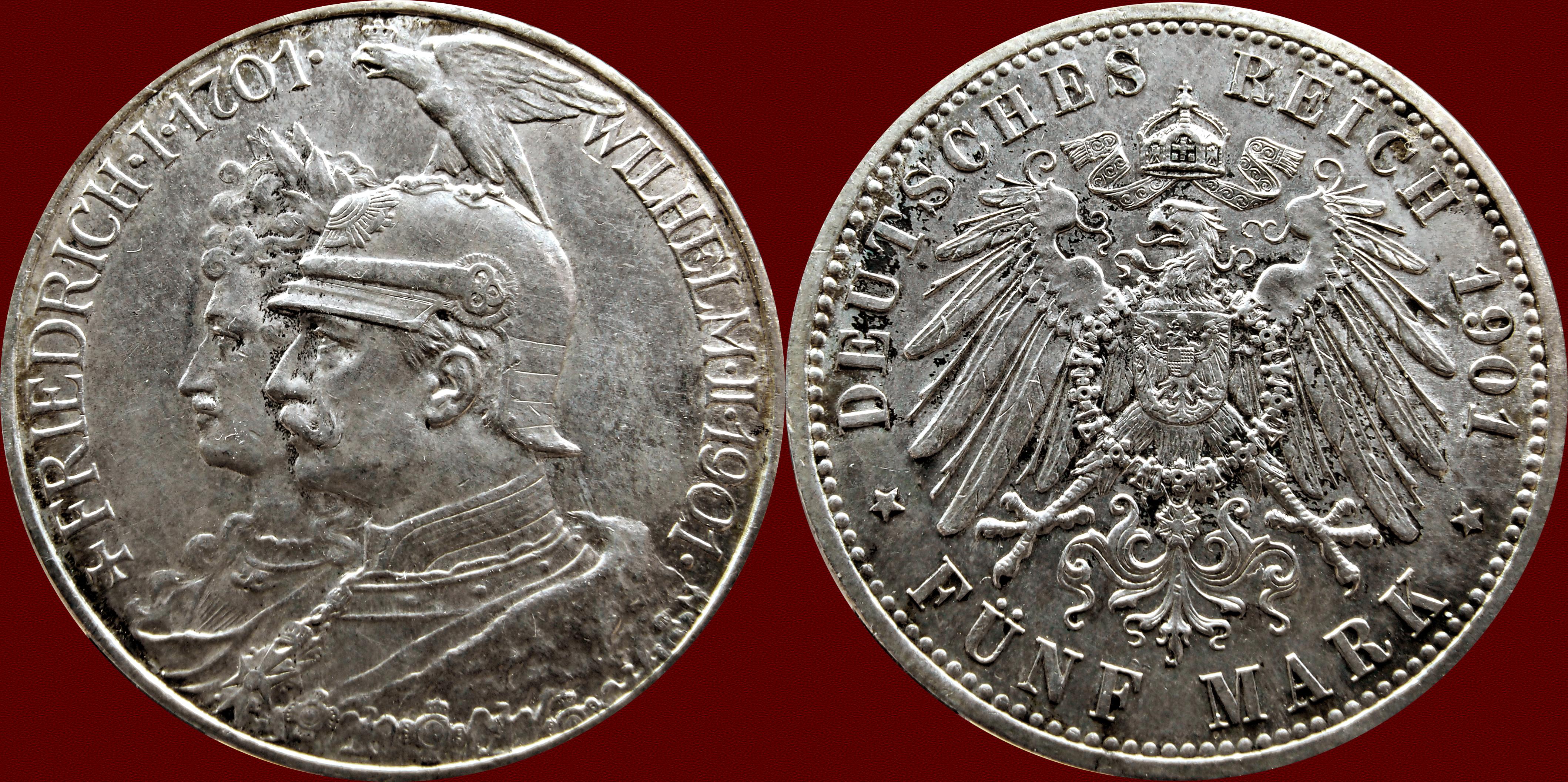 5 Marcos - Estados Alemanes, Prussia 1901 12756565325_a93a2ea27a_o