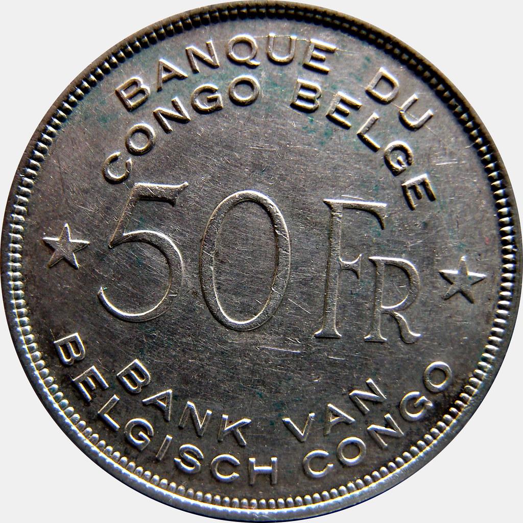 Congo Belga. 5 Francos. 1944. Elefante 10460518374_91d4ebebc5_b